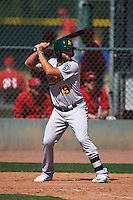 Oakland Athletics Ryan Howell (19) during an instructional league game against the Los Angeles Angels on October 9, 2015 at the Tempe Diablo Stadium Complex in Tempe, Arizona.  (Mike Janes/Four Seam Images)