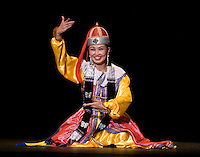 FEMALE MONGOLIAN DANCER during MONGOLIAN NIGHT at a DALAI LAMA teaching in October 2007 sponsored by KUMBUM CHAMTSE LING & the TIBETAN CULTURAL CENTER - BLOOMINGTON, INDIANA