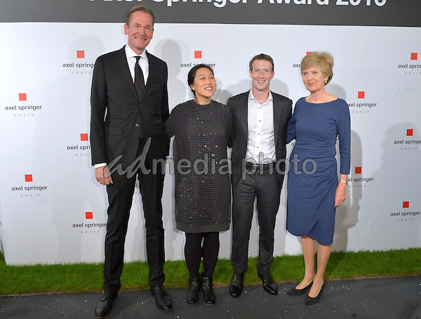 25 February 2016 - Berlin, Germany - Axel Spinger Award for Mark Zuckerberg in Berlin, Germany. Photo Credit: Timm/face to face/AdMedia