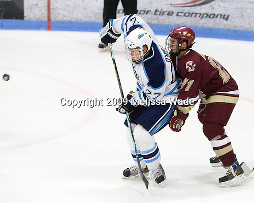 Will O'Neill (Maine - 27), Steven Whitney (BC - 21) - The Boston College Eagles and University of Maine Black Bears tied 3-3 (OT) on Saturday, November 21, 2009, at Alfond Arena in Orono, Maine.