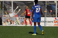 Rochester, NY - Friday June 24, 2016: Boston Breakers goalkeeper Jami Kranich (2), Western New York Flash forward Lynn Williams (9) during a regular season National Women's Soccer League (NWSL) match between the Western New York Flash and the Boston Breakers at Rochester Rhinos Stadium.