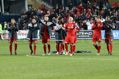 10.12.206. Toronto, ONT, Canada. MLS Football League Cup. Michael Bradley #4 of Toronto FC celebrates after teammate Clint Irwin #1 (not pictured) makes a save against the Seattle Sounders on December 10, 2016, at BMO Field in Toronto, ON, Canada.