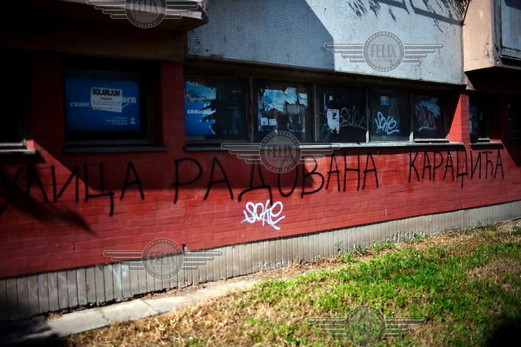 Grafitti sprayed on the apartment block in New Belgrade where former Bosnian Serb politician Radovan Karadzic was living at the time of his arrest for war crimes in 2008. It reads Radovan Karadzic Street...