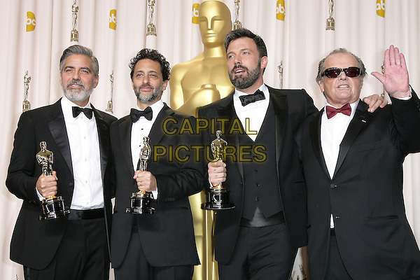 George Clooney, Grant Heslov, Ben Affleck, Jack Nicholson.85th Annual Academy Awards held at the Dolby Theatre at Hollywood & Highland Center, Hollywood, California, USA..February 24th, 2013.pressroom oscars half length black hand palm waving tuxedo red bow tie sunglasses shades beard facial hair white shirt award trophy trophies winner winners arm over shoulder .CAP/ADM.©AdMedia/Capital Pictures.