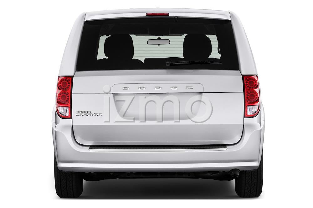 Straight rear view of 2017 Dodge Grand-Caravan SE 5 Door Minivan Rear View  stock images