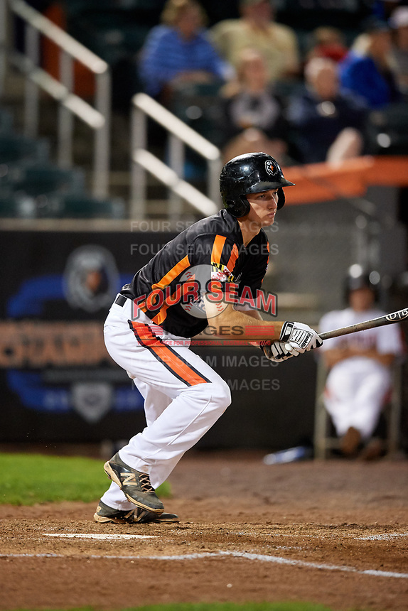 Aberdeen IronBirds shortstop Adam Hall (1) follows through on a swing during a game against the Staten Island Yankees on August 23, 2018 at Leidos Field at Ripken Stadium in Aberdeen, Maryland.  Aberdeen defeated Staten Island 6-2.  (Mike Janes/Four Seam Images)