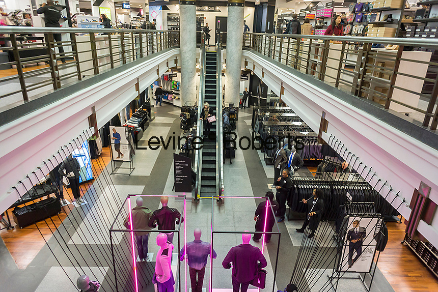 A Saks Fifth Avenue Off Fifth discount spin-off brand opens in New York, seen on Sunday, March 6, 2016. The 47,000 square foot store, selling discounted merchandise also contains a Gilt Groupe shop which will offer weekly flash sales. Hudson's Bay Co., the owner of Saks, recently purchased the Gilt Groupe.  (© Richard B. Levine)