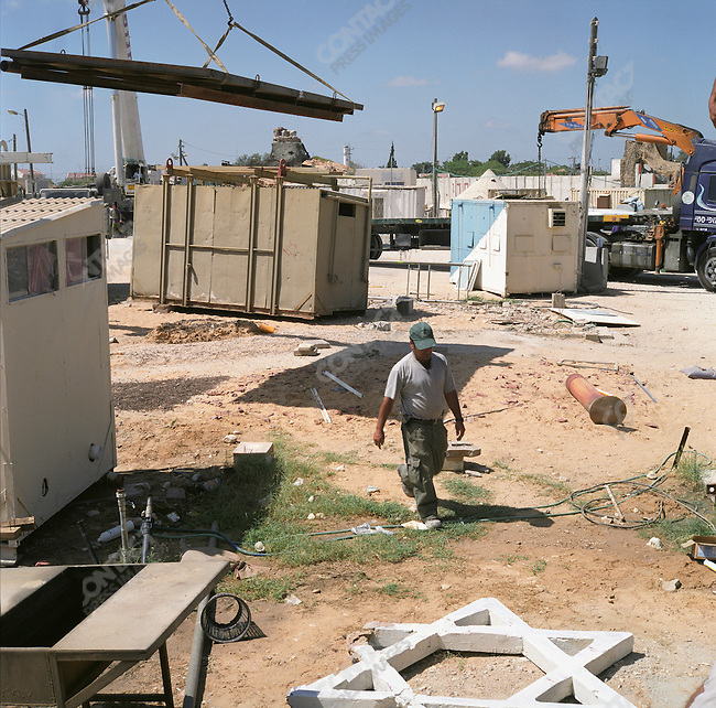 Israeli military base in the Morag Settlement. The base is being dismantled as part of the Israeli pull out. Gaza, July 2005.