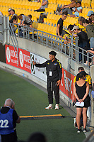 Hurricanes' Ardie Savea takes selfies with fans before the Super Rugby match between the Hurricanes and Sharks at Sky Stadium in Wellington, New Zealand on Saturday, 15 February 2020. Photo: Dave Lintott / lintottphoto.co.nz