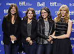 """Catherine Keener,  Nicole Holofcener, Julia Louis-Dreyfus and  Toni Collette attending the 2013 Tiff Film Festival Photo Call for """"Enough Said""""  at the Tiff Lightbox  on September 8, 2013 in Toronto, Canada."""