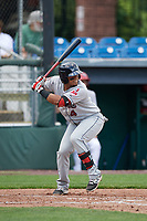 Mahoning Valley Scrappers catcher Gian Paul Gonzalez (4) at bat during the first game of a doubleheader against the Auburn Doubledays on July 2, 2017 at Falcon Park in Auburn, New York.  Mahoning Valley defeated Auburn 3-0.  (Mike Janes/Four Seam Images)