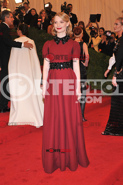 Mia Wasikowska at the 'Schiaparelli And Prada: Impossible Conversations' Costume Institute Gala at the Metropolitan Museum of Art on May 7, 2012 in New York City. ©mpi03/MediaPunch Inc.