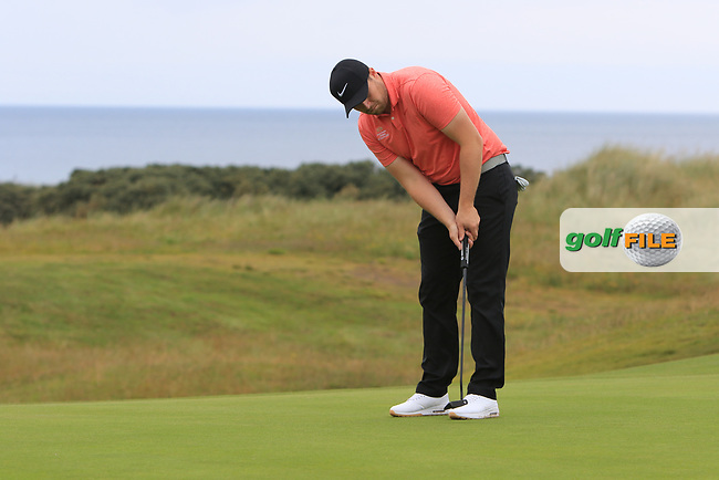 Rhys Clarke during Round 2 of the North of Ireland Amateur Open Championship 2019 at Portstewart Golf Club, Portstewart, Co. Antrim on Tuesday 9th July 2019.<br /> Picture:  Thos Caffrey / Golffile<br /> <br /> All photos usage must carry mandatory copyright credit (© Golffile | Thos Caffrey)