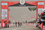 Race leader Primoz Roglic (SLO) Team Jumbo-Visma outsprints Tom Dumoulin (NED) Team Sunweb over the finish line to win Stage 6 of the 2019 UAE Tour, running 175km form Ajman to Jebel Jais, Dubai, United Arab Emirates. 1st March 2019.<br /> Picture: LaPresse/Massimo Paolone | Cyclefile<br /> <br /> <br /> All photos usage must carry mandatory copyright credit (© Cyclefile | LaPresse/Massimo Paolone)