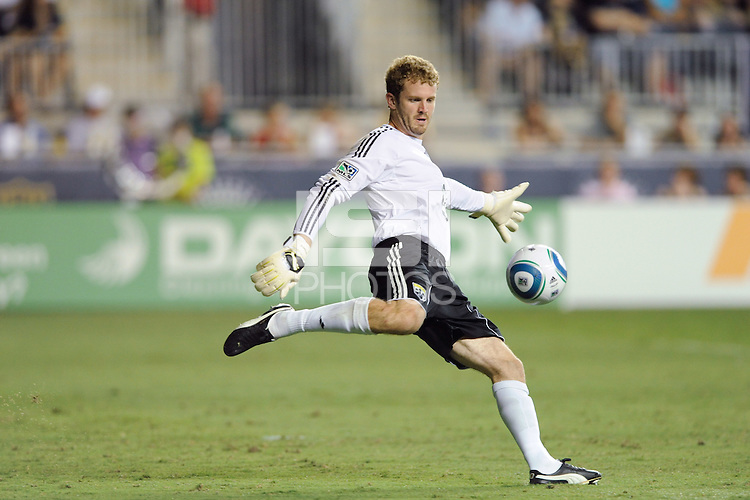 Columbus Crew goalkeeper William Hesmer (1). The Columbus Crew defeated the Philadelphia Union 2-1 during a Major League Soccer (MLS) match at PPL Park in Chester, PA, on August 05, 2010.
