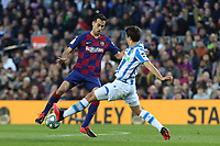 7th March 2020; Camp Nou, Barcelona, Catalonia, Spain; La Liga Football, Barcelona versus Real Sociedad;  Sergio Busquets cuts back on the ball to evade the tackle