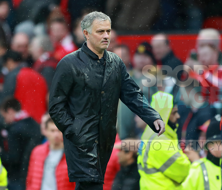 Jose Mourinho manager of Manchester United walks off to the sound of boos during the premier league match at the Old Trafford Stadium, Manchester. Picture date 15th April 2018. Picture credit should read: Simon Bellis/Sportimage