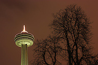 Night view of the Skylon tower at Niagara Falls