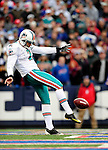 29 November 2009: Miami Dolphins' punter Brandon Fields kicks from his own end-zone to the Buffalo Bills at Ralph Wilson Stadium in Orchard Park, New York. The Bills defeated the Dolphins 31-14. Mandatory Credit: Ed Wolfstein Photo