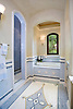 Custom Scroll bath mosaic rug and chair rail border in Renaissance Bronze, Ivory Cream, Celeste, Blue Macauba