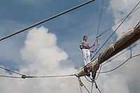 BUENOS AIRES, ARGENTINA - 01.02.2014 - NAVIO MAIS RAPIDO DO MUNDO - O ARA Libertad, da Marinha navio escola da Argentina, zarpa do porto de Buenos Aires para a sua viagem de instrução anual. Projetado e construído na década de 1950, a ARA Libertad é um dos maiores e mais rápidos navios altos do mundo.(Foto Patricio Murphy / Brazil Photo Press).