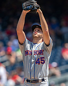 New York Mets starting pitcher Zack Wheeler (45) stretches during a rough first inning against the Washington Nationals at Nationals Park in Washington, D.C. on Thursday, May 16, 2019.<br /> Credit: Ron Sachs / CNP<br /> (RESTRICTION: NO New York or New Jersey Newspapers or newspapers within a 75 mile radius of New York City)