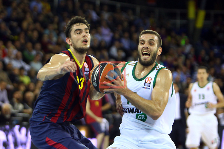 Euroleague Basketball-Regular Season Round 5.<br /> FC Barcelona vs Panathinaikos Athens: 78-69.<br /> Tomas Satoransky vs Nikos Pappas