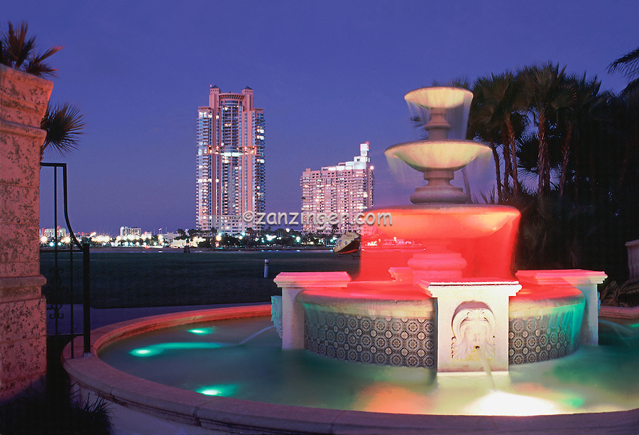 Fisher Island, Miami, Florida, Colorful Fountain Lit at night High dynamic range imaging (HDRI or HDR)