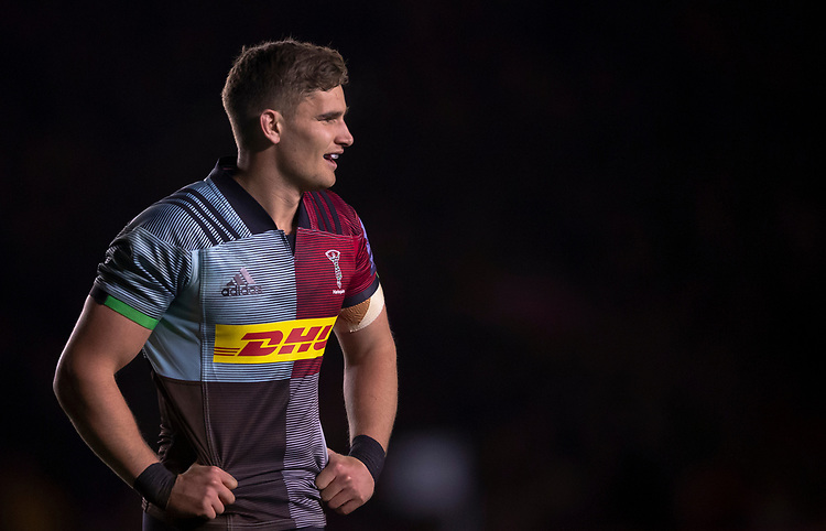 Harlequins' James Lang<br /> <br /> Photographer Bob Bradford/CameraSport<br /> <br /> Gallagher Premiership Round 9 - Harlequins v Exeter Chiefs - Friday 30th November 2018 - Twickenham Stoop - London<br /> <br /> World Copyright &copy; 2018 CameraSport. All rights reserved. 43 Linden Ave. Countesthorpe. Leicester. England. LE8 5PG - Tel: +44 (0) 116 277 4147 - admin@camerasport.com - www.camerasport.com