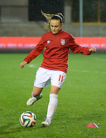 20151130 - LEUVEN ,  BELGIUM : Serbian Vesna Smiljkovic  pictured during the female soccer game between the Belgian Red Flames and Serbia , the third game in the qualification for the European Championship in The Netherlands 2017  , Monday 30 November 2015 at Stadion Den Dreef  in Leuven , Belgium. PHOTO DIRK VUYLSTEKE