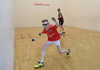 19/03/2018; 40x20 All Ireland Juvenile Championships Finals 2018; Kingscourt, Co Cavan;<br /> Boys Under-14 Singles; Galway (Mikey Kelly) v Cork (Hayden Supple)<br /> Photo Credit: actionshots.ie/Tommy Grealy