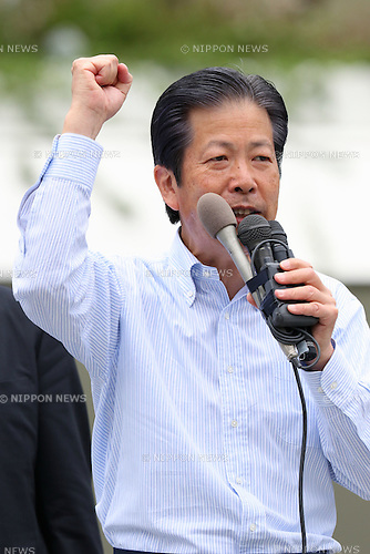 Komeito party leader Natsuo Yamaguchi attends a stump speech in support of a local candidate in Kawasaki, near Tokyo, Japan on July 8, 2016. Japan's upper house election will be held on this sunday. (Photo by AFLO)