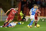 Aberdeen v St Johnstone&hellip;22.09.16.. Pittodrie..  Betfred Cup<br />Steven MacLean is closed down by Graeme Shinnie<br />Picture by Graeme Hart.<br />Copyright Perthshire Picture Agency<br />Tel: 01738 623350  Mobile: 07990 594431