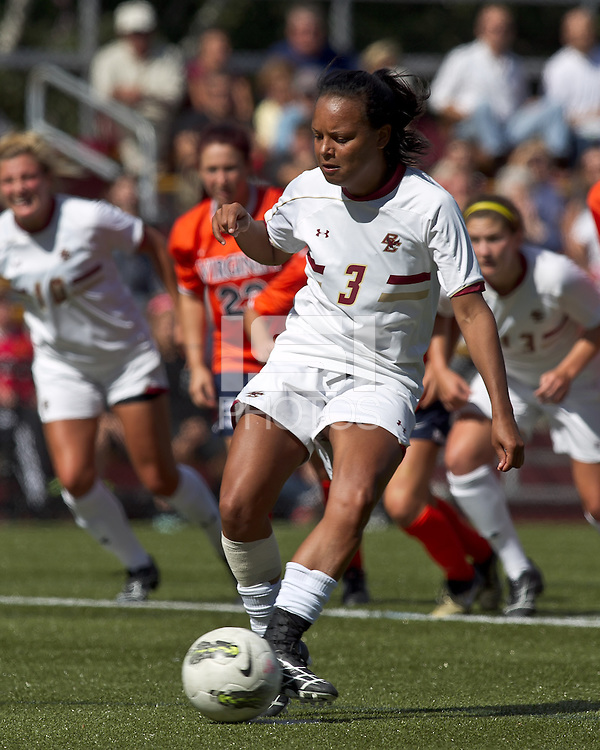 Boston College midfielder/defender Casey Morrison (3) penalty kick score. Boston College defeated University of Virginia, 2-0, at the Newton Soccer Field, on September 18, 2011.