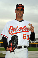 Feb 27, 2010; Tampa, FL, USA; Baltimore Orioles  pitcher Alberto Castillo (53) during  photoday at Ed Smith Stadium. Mandatory Credit: Tomasso De Rosa