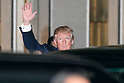 US President Donald Trump greets to the cameras after left the teppanyaki restaurant Ukai-tei in Ginza on November 5, 2017, Tokyo, Japan. Trump and Japan's Prime Minister Shinzo Abe enjoyed dinner in Tokyo after playing golf in the afternoon. Japan is the first stop on his five-nation tour in Asia. (Photo by Rodrigo Reyes Marin/AFLO)