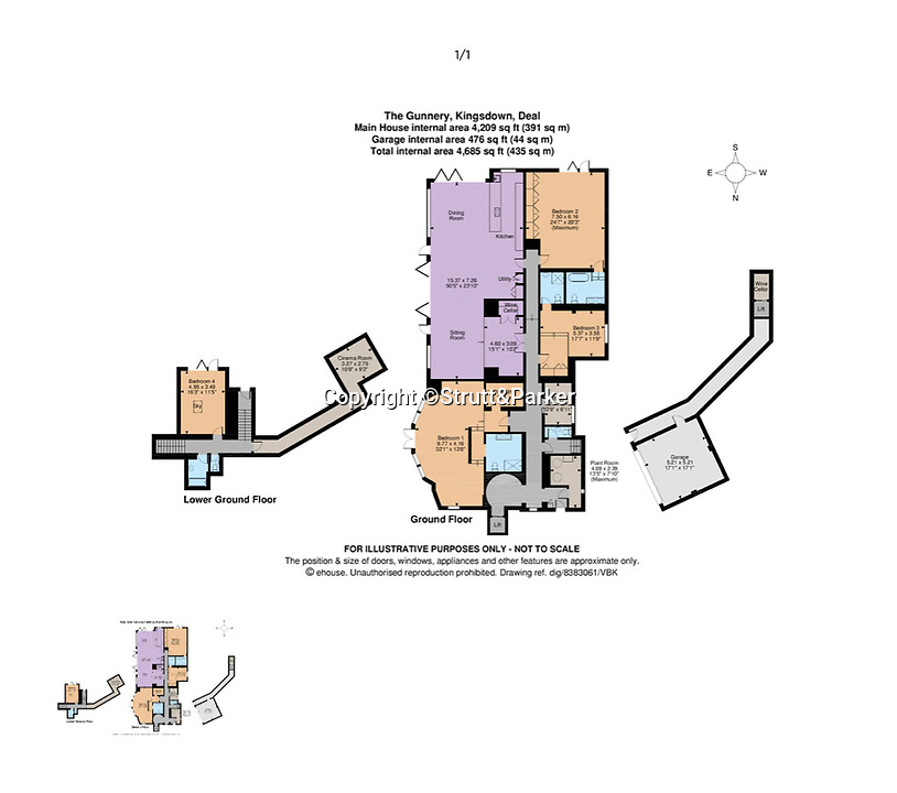 BNPS.co.uk (01202 558833)<br /> Pic: Strutt&Parker/BNPS<br /> <br /> Floorplan...<br /> <br /> A former WW2 battery, with unrivalled views across the channel to France, has come on the market - but you'll need deep pockets to shell out on its stunning location.<br /> <br /> The cliff top gun emplacement was rapidly constructed in 1940, as Britsh troops were fleeing Dunkirk, and has now been transformed into a £6million 'James Bond style' property.<br /> <br /> The Gunnery, near Kingsdown in Kent offers 'incredible' views of the Channel, with the iconic White Cliffs of Dover visible to the west, and France to the south, while also coming with six acres of sandy beach.<br /> <br /> The unique 82ft long property is accessed by an underground tunnel that leads through the cliff to a glass lift which travels up to it. Another secret tunnel inside the four bedroom home, which is just a few feet from the cliff edge, provides passage to a home cinema.<br /> <br /> The 50ft long living room has floor to ceiling windows and the original gun loops can still be seen.