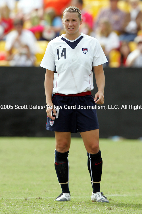 23 October 2005: US Women's National Team member Amy LePeilbet. The United States Women's National Team defeated Mexico 3-0 at Blackbaud Stadium in Charleston, South Carolina in an International Friendly soccer match.
