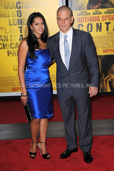 WWW.ACEPIXS.COM . . . . . .September 7, 2011...New York City...Luciana Bozan Barroso and Matt Damon attend the 'Contagion' premiere at the Rose Theater, Jazz at Lincoln Center on September 7, 2011 in New York City. ....Please byline: KRISTIN CALLAHAN - ACEPIXS.COM.. . . . . . ..Ace Pictures, Inc: ..tel: (212) 243 8787 or (646) 769 0430..e-mail: info@acepixs.com..web: http://www.acepixs.com .