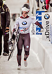 8 January 2016: Jane Channell, competing for Canada, carries her sled off the track after completing her second run of the BMW IBSF World Cup Skeleton race with a combined 2-run time of 1:51.27, earning a 6th place finish for the day at the Olympic Sports Track in Lake Placid, New York, USA. Mandatory Credit: Ed Wolfstein Photo *** RAW (NEF) Image File Available ***