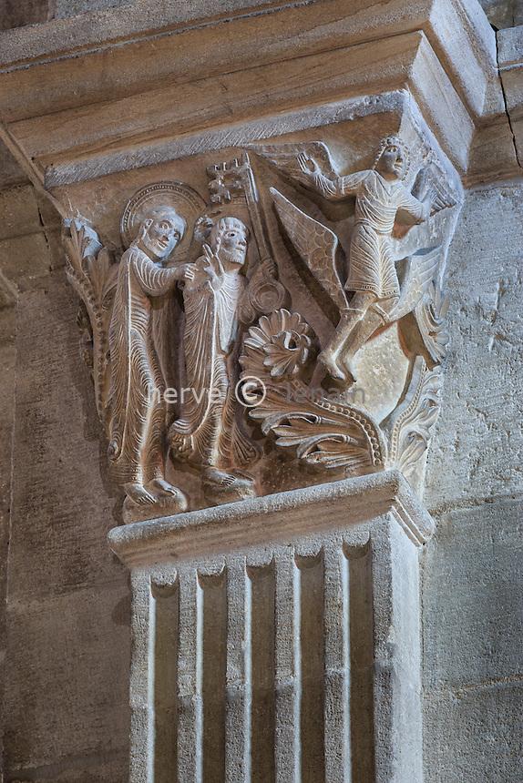 France, Saône-et-Loire (71), Autun, la cathédrale Saint-Lazare d'Autun, chapiteau, l'ascension de Simon le magicien // France, Saone et Loire, Autun,Saint Lazare Cathedral, capital