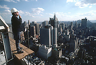 Manhattan, New York - October 5, 1988. French designer and architect Philippe Starck visits a construction site.