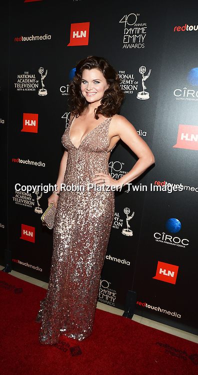 Heather Tom  in Kaufman Franco dress attends The 40th Annual Daytime Emmy Awards on<br />  June 16, 2013 at the Beverly Hilton Hotel in Beverly Hills, California. <br /> photo by Robin Platzer/ Twin Images<br /> <br /> 212-935-0770