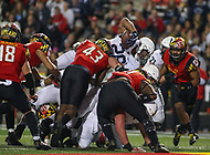 College Park, MD - November 25, 2017: Penn State Nittany Lions running back Saquon Barkley (26) dives for a touchdown during game between Penn St and Maryland at  Capital One Field at Maryland Stadium in College Park, MD.  (Photo by Elliott Brown/Media Images International)