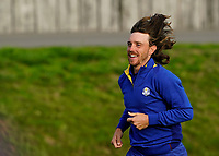 Tommy Fleetwood (Team Europe) celebrating after the singles matches at the Ryder Cup, Le Golf National, Ile-de-France, France. 30/09/2018.<br /> Picture Fran Caffrey / Golffile.ie<br /> <br /> All photo usage must carry mandatory copyright credit (© Golffile | Fran Caffrey)