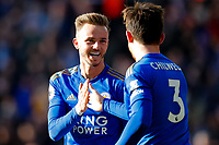 1st February 2020; King Power Stadium, Leicester, Midlands, England; English Premier League Football, Leicester City versus Chelsea; James Maddison and Ben Chilwell of Leicester City celebrate Chilwell's goal after 64 minutes (2-1)