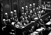 Nuremberg Trials. Looking down on defendants' dock, ca. 1945-46. (WWII War Crimes Records)<br /> Exact Date Shot Unknown