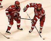 Luke Esposito (Harvard - 9), Jacob Olson (Harvard - 26) - The University of Minnesota Duluth Bulldogs defeated the Harvard University Crimson 2-1 in their Frozen Four semi-final on April 6, 2017, at the United Center in Chicago, Illinois.