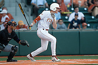 Texas Longhorns  third baseman Erich Weiss #6 swings during the NCAA baseball game against the Central Arkansas Bears on April 24, 2012 at the UFCU Disch-Falk Field in Austin, Texas. The Longhorns beat the Bears 4-2. (Andrew Woolley / Four Seam Images).