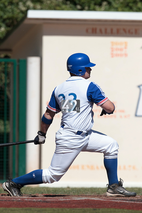 18 July 2010: David Gauthier of Team France is seen at bat during day 6 of the Open de Rouen, an international tournament with Team France, Team Saint Martin, Team All Star Elite, at Stade Pierre Rolland, in Rouen, France.